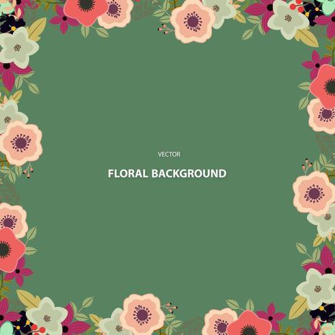Square floral frame  vector