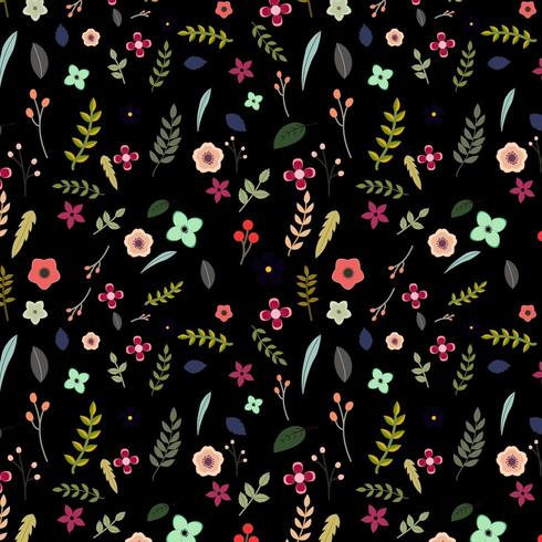 colorful floral pattern on black background vector