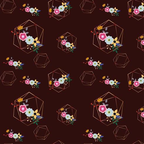 floral geometric background design vector