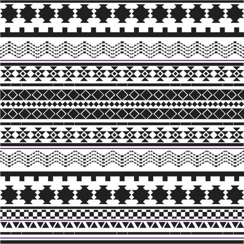Black and white tribal shapes patter vector