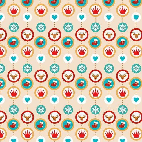 färgglad julbakgrundsdesign med ikoner i cirkelramar vektor