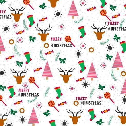 julbakgrundsdesign med träd, strumpor och renar vektor