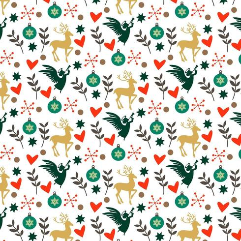 colorful christmas pattern with hearts, deer and angels vector
