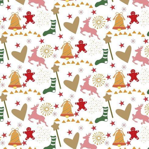 sfondo di Natale con cuori, renne e omino di marzapane