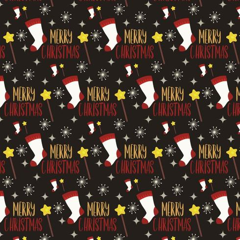 julmönster design med strumpa och trollstav vektor