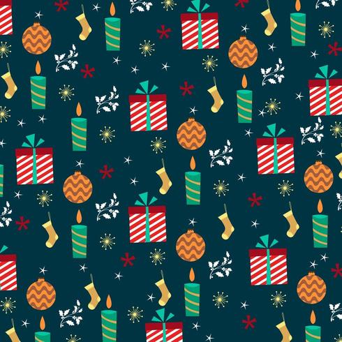 christmas wallpaper design with gifts and candles vector
