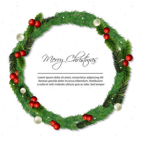 merry christmas card with wreath vector