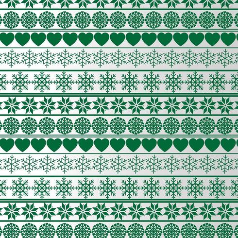 christmas pattern with hearts and snowflakes vector