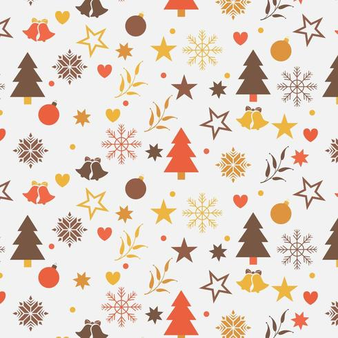 christmas background design with trees, snowflakes, and stars vector