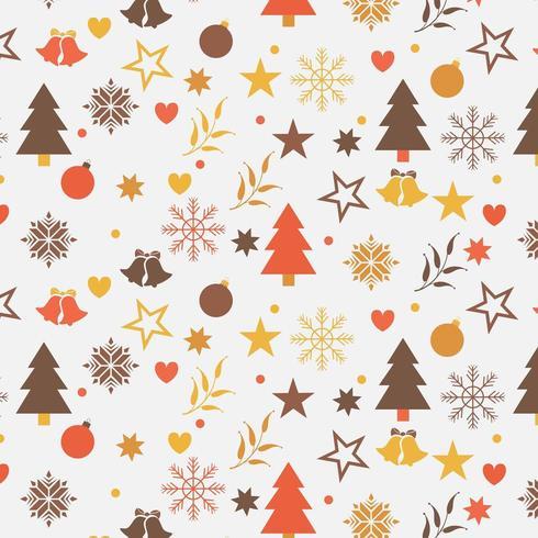 julbakgrundsdesign med träd, snöflingor och stjärnor vektor