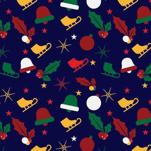 christmas pattern background with ice skate, holly and ornaments vector