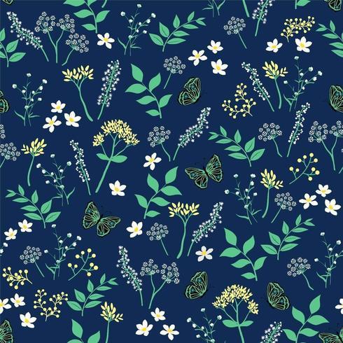 Noite de verão floral com padrão sem emenda de borboleta vetor