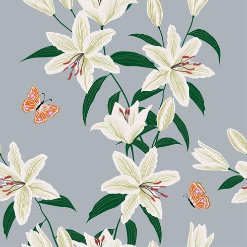 Blooming lily flowers garden seamless pattern vector