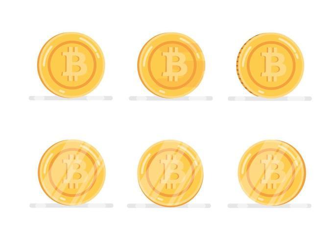 Bitcoin financial system icons set vector