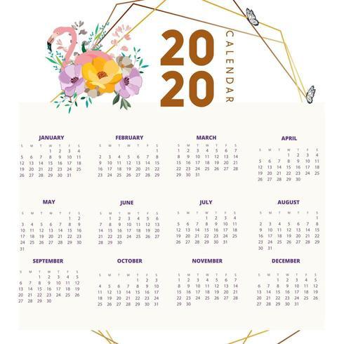 2020 design del calendario con fenicotteri e fiori