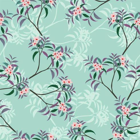 Pink floral seamless pattern on green vector