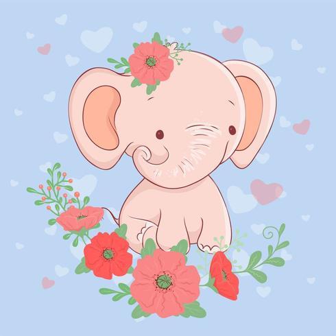 Elefante simpatico cartone animato con un mazzo di papaveri