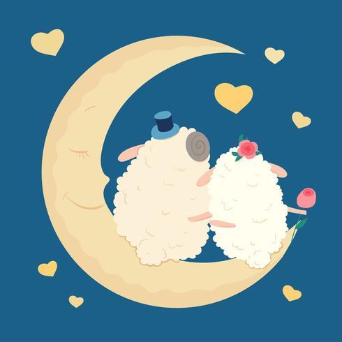 Cartone animato carino pecore innamorate sulla luna