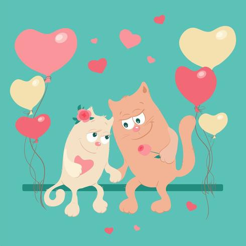 Söta tecknade katter i kärlek på en gunga med ballonger vektor
