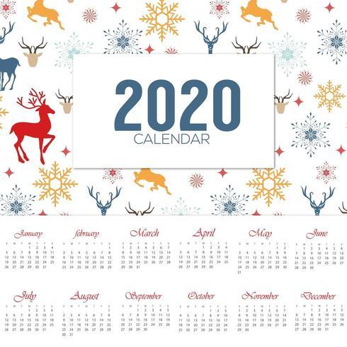 2020 christmas themed calendar design vector