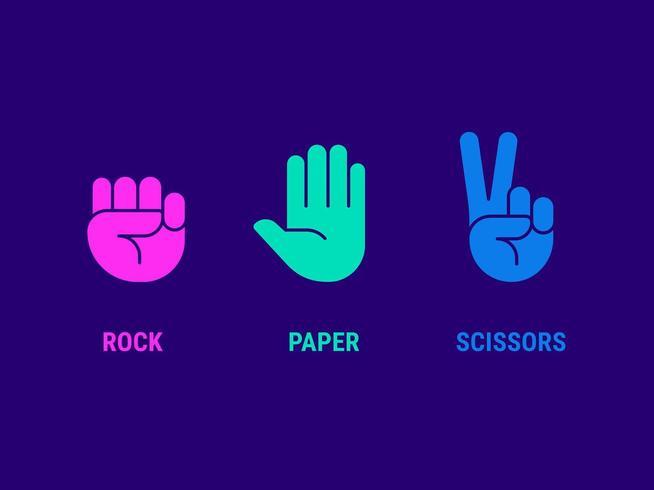 Icone della mano di forbici di carta rock