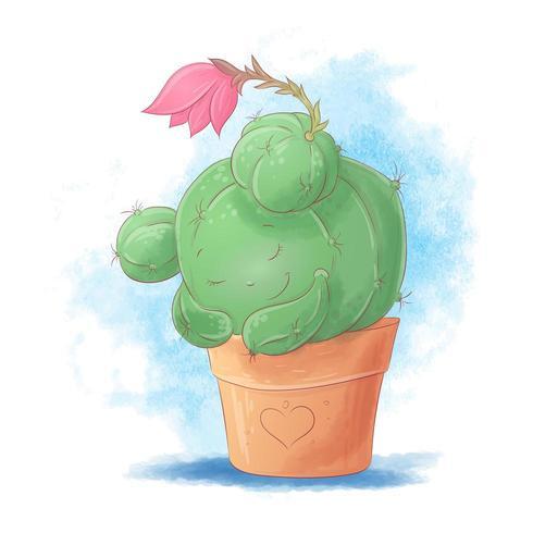 Cute cartoon cactus girl sleeping in a pot vector