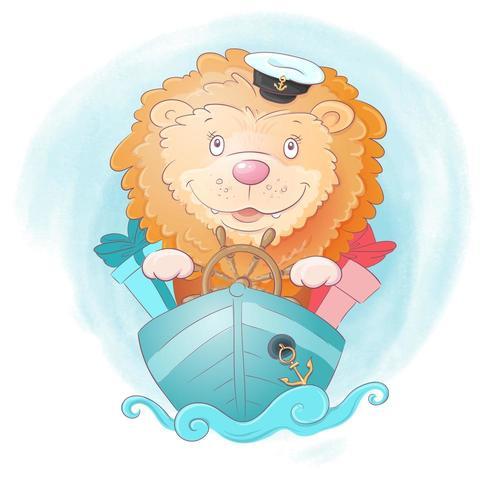Watercolor cartoon lion ship captain  vector