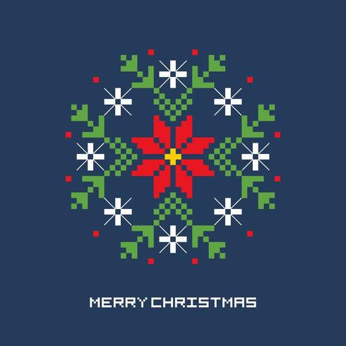Christmas Flower Pixel Art vector