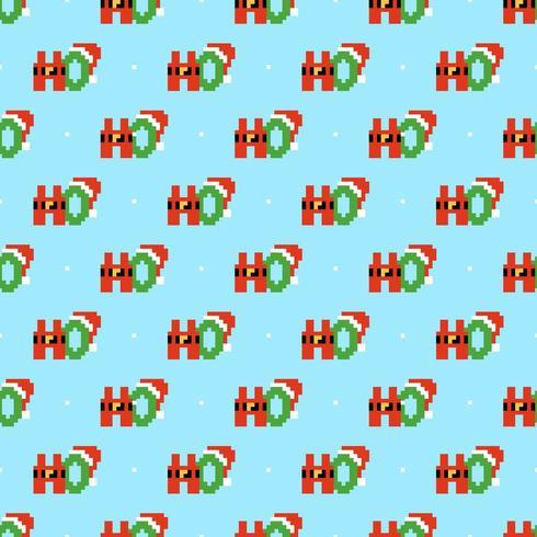 HoHoHo Pixel Art Seamless Pattern vector