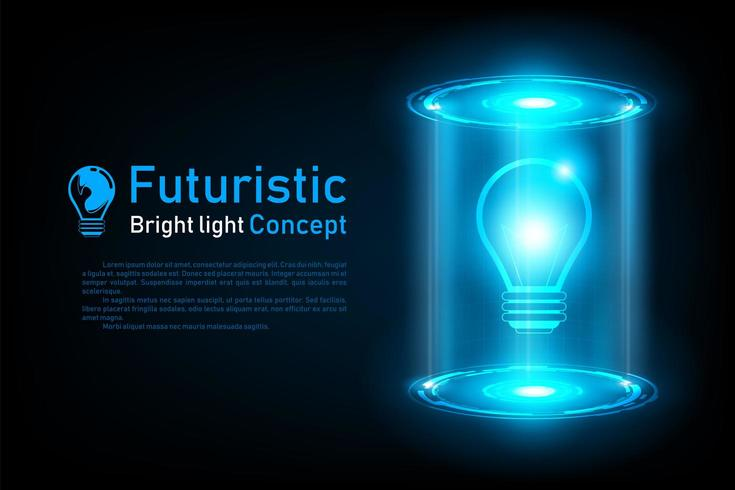 Abstract futuristic lightbulb idea hologram vector