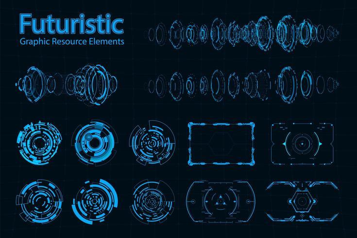 Pack de elementos futuristas abstractos vector