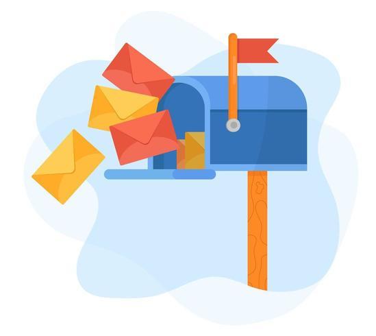 Cassetta postale blu con bandiera rossa e lettere