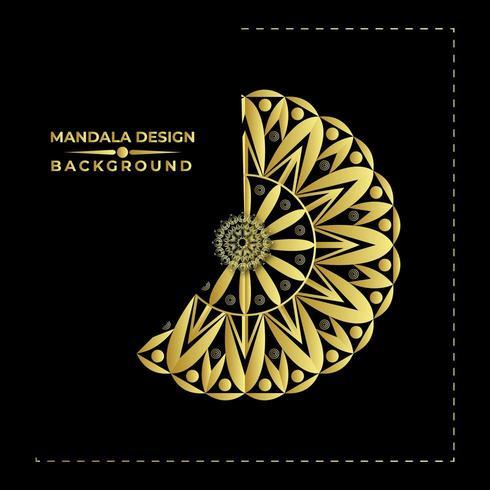Mandala Background Vector Design dorato elegante