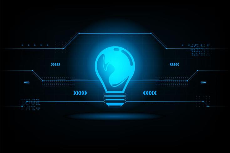 Abstract light bulb futuristic connection.Future concept.vector and illustration vector