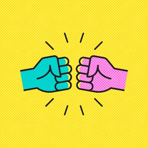 Fist Bump Pop Art Vector Illustration
