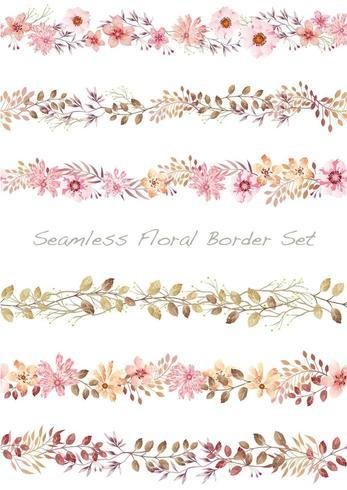 Sömlös akvarell blommig gränsuppsättning. vektor