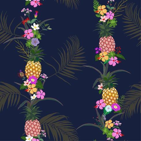 summer night tropical flowers pattern vector