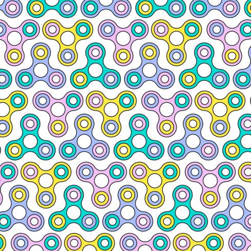 Flat Line Fidget Spinner Seamless Pattern vector