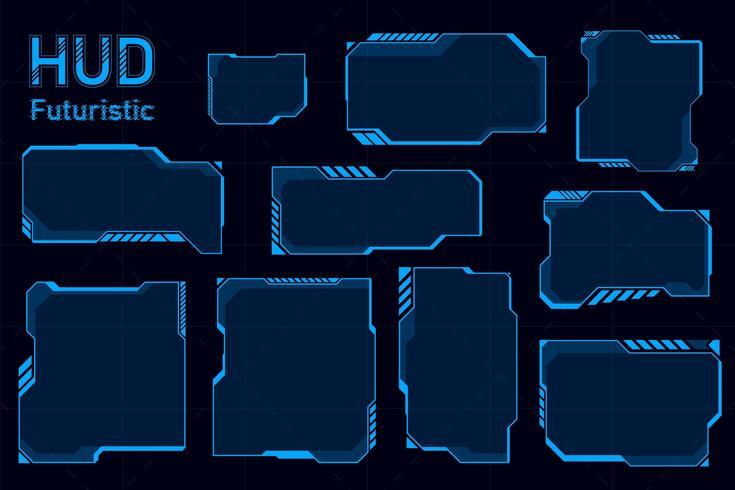 Conjunto abstracto futurista de HUD vector