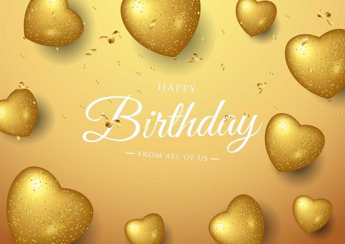 Diseño de tipografía de celebración de feliz cumpleaños con globos de corazón dorado vector