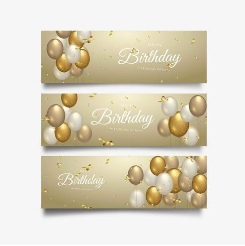 Happy Birthday celebration typography design for greeting banner set vector