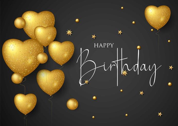 Cartolina d'auguri elegante di buon compleanno con palloncini d'oro e coriandoli che cadono