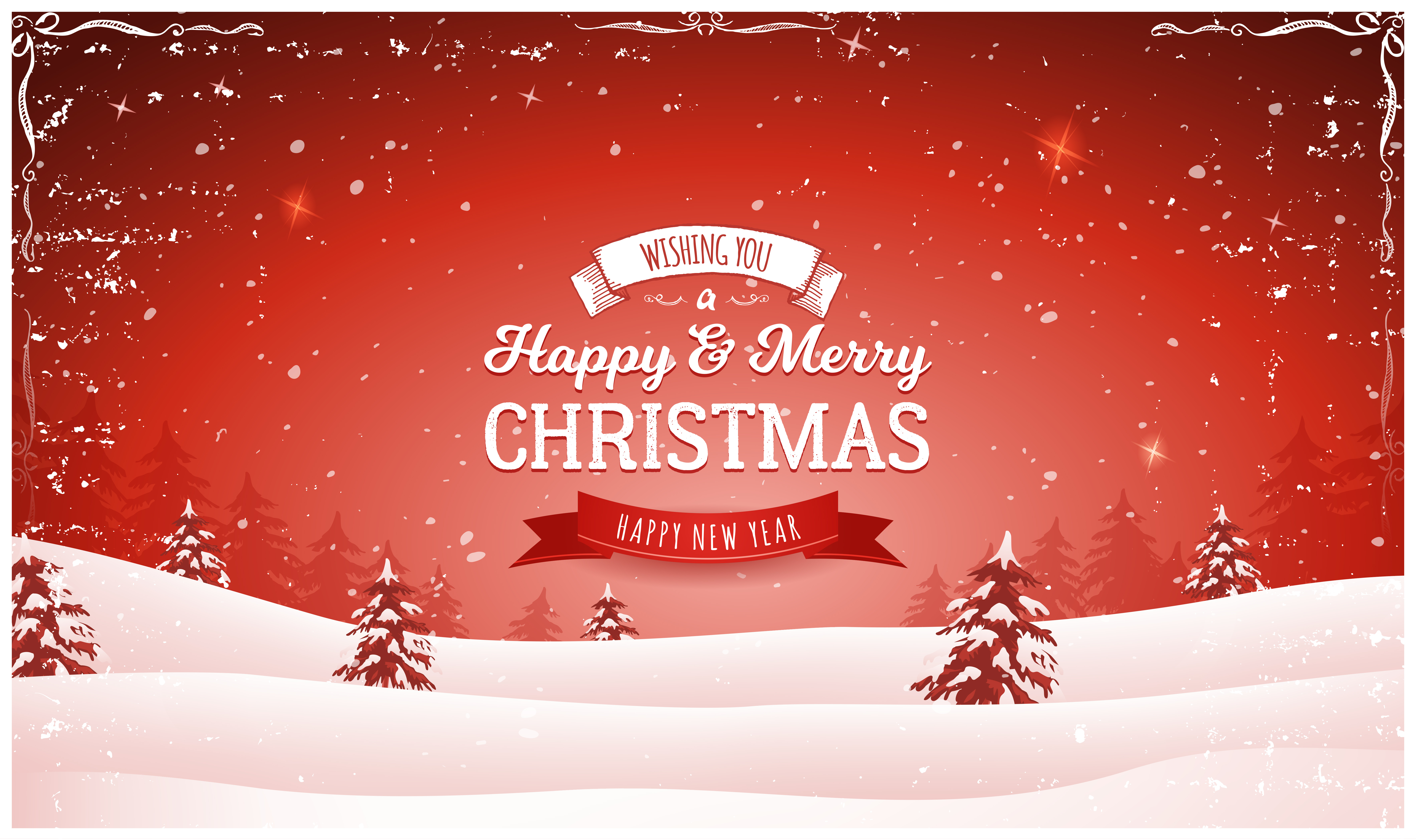 Vintage Red Christmas Landscape Background - Download Free ...