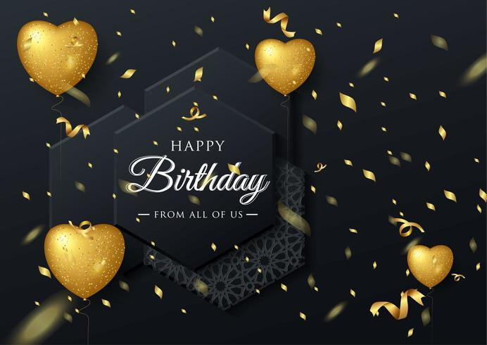 Golden Balloon birthday elegant greeting card with falling confetti vector