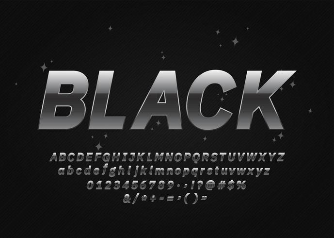 Alphabet métallisé noir argenté vecteur