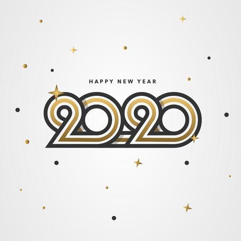 Priorità bassa di arte linea retrò oro nuovo anno 2020