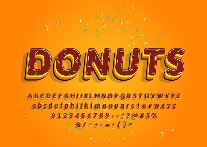 Donuts 3d decorative alphabet with colored topping vector