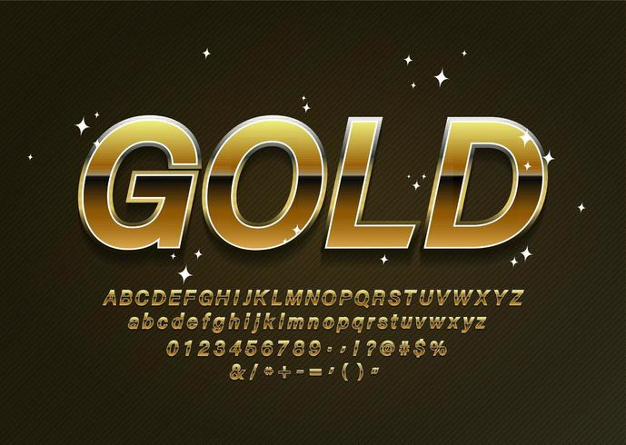 Gold alphabet letters with numbers and punctuation symbols vector