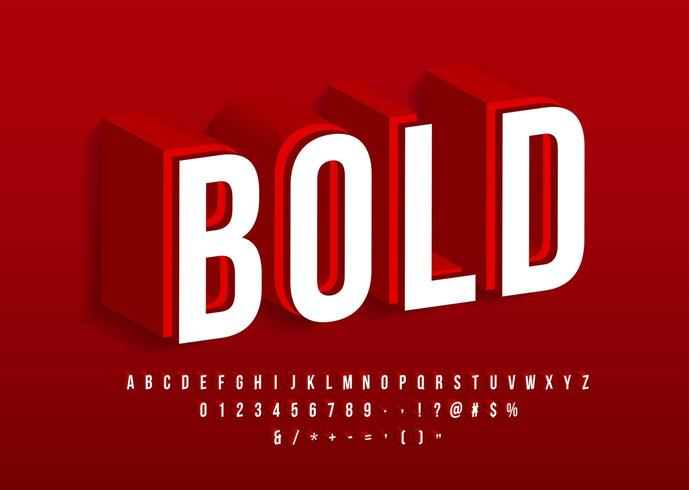 Bold strong font Modern 3d alphabet Red color