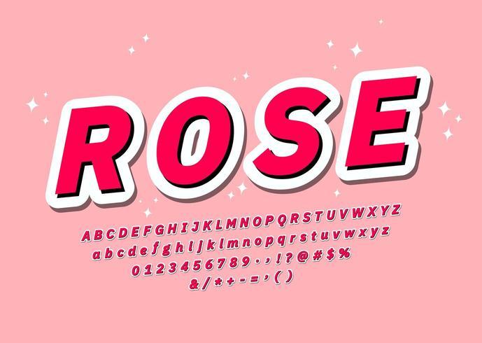 Rose Pink font  vector